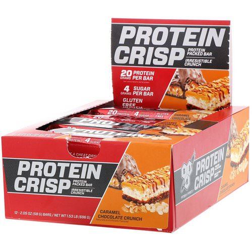 BSN, Protein Crisp, Caramel Chocolate Crunch, 12 Bars, 2.05 oz (58 g) Each Review