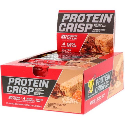 BSN, Protein Crisp, Packed Protein Bar, Salted Toffee Pretzel, 12 Bars, 2.01 oz (57 g) Review
