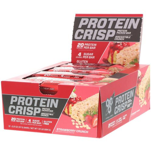 BSN, Protein Crisp, Strawberry Crunch, 12 bars, 2.01 oz (57 g) Each Review