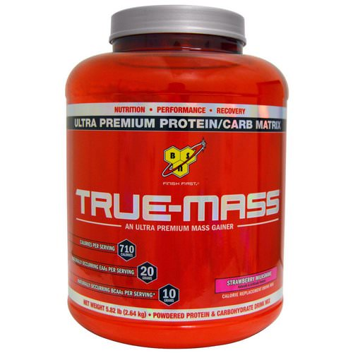 BSN, True-Mass, Ultra Premium Protein/Carb Matrix, Strawberry Milk Shake, 5.82 lbs (2.64 kg) Review