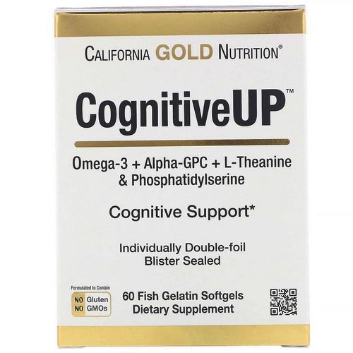 California Gold Nutrition, CognitiveUP, Omega 3, Alpha-GPC,Theanine and PS, 60 Fish Gelatin Softgels Review