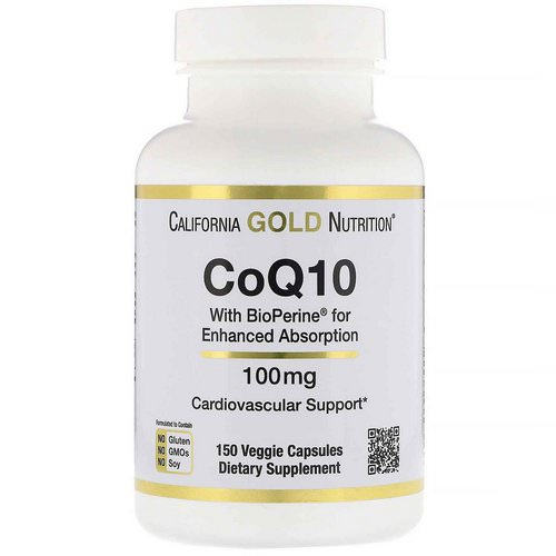 California Gold Nutrition, CoQ10 USP with Bioperine, 100 mg, 150 Veggie Capsules Review