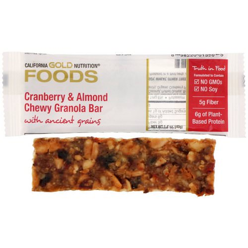 California Gold Nutrition, Cranberry & Almond Chewy Granola Bars, 1.4 oz (40 g) Review