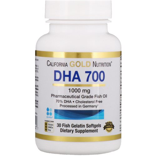 California Gold Nutrition, DHA 700 Fish Oil, Pharmaceutical Grade, 1000 mg, 30 Fish Gelatin Softgels Review