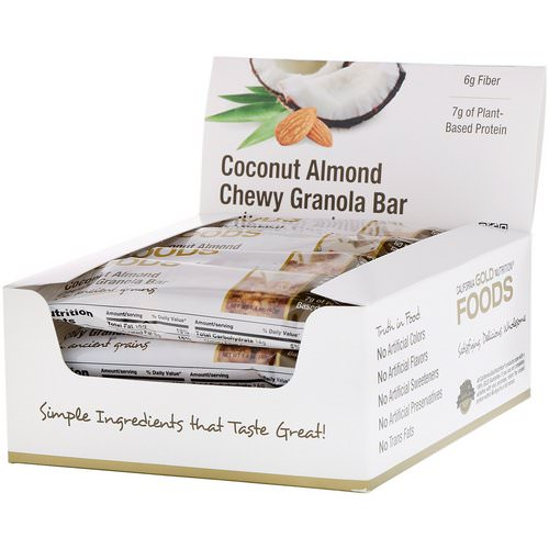California Gold Nutrition, Foods, Coconut Almond Chewy Granola Bars, 12 Bars, 1.4 oz (40 g) Each Review