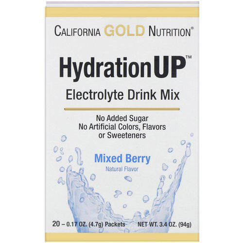 California Gold Nutrition, HydrationUP, Electrolyte Drink Mix, Mixed Berry, 20 Packets, 0.17 oz (4.7 g) Each Review