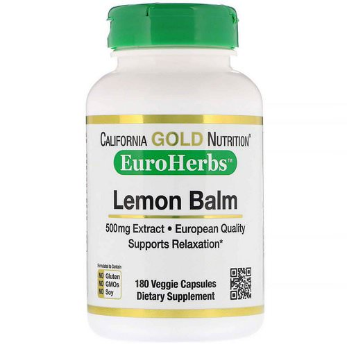 California Gold Nutrition, Lemon Balm Extract, European Qualtity, 500 mg, 180 Veggie Caps Review