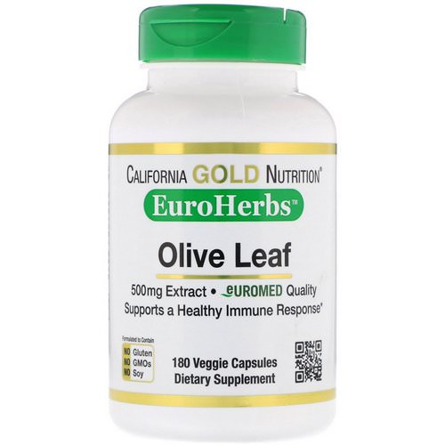 California Gold Nutrition, Olive Leaf Extract, EuroHerbs, European Quality, 500 mg, 180 Veggie Capsules Review