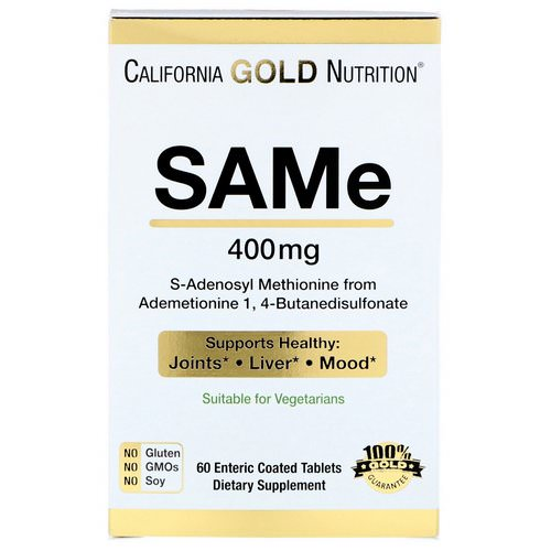 California Gold Nutrition, SAMe, Preferred Form Butanedisulfonate, 400 mg, 60 Enteric Coated Tablets Review