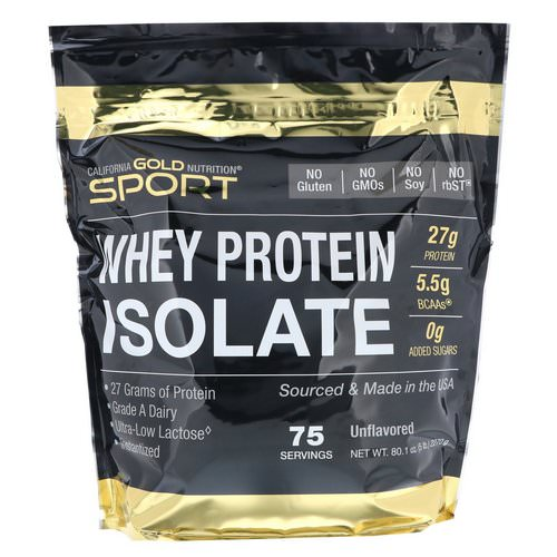 California Gold Nutrition, SPORT, Whey Protein Isolate, Unflavored, 90% Protein, Fast Absorption, Easy to Digest, Single Source Grade A Wisconsin, USA Dairy, 75 Servings, 5 lbs (2270 g) Review