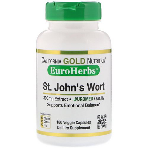 California Gold Nutrition, St. John's Wort Extract, EuroHerbs, European Quality, 300 mg, 180 Veggie Capsules Review