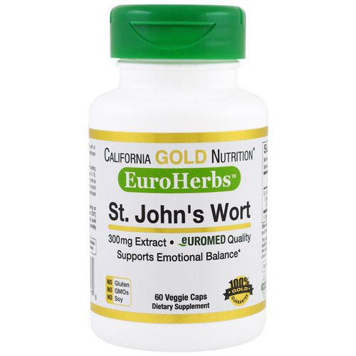 California Gold Nutrition, St. John's Wort Extract, EuroHerbs, European Quality, 300 mg, 60 Veggie Caps Review