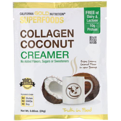 California Gold Nutrition, Superfoods, Collagen Coconut Creamer, Unsweetened, 0.85 oz (24 g) Review