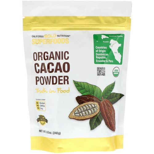 California Gold Nutrition, Superfoods, Organic Cacao Powder, 8.5 oz (240 g) Review