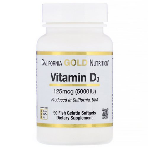 California Gold Nutrition, Vitamin D3, 125 mcg (5,000 IU), 90 Fish Gelatin Softgels Review