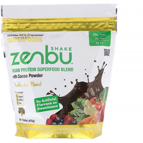 California Gold Nutrition, Zenbu Shake, Vegan Protein Superfood Blend with Cocoa Powder, 1.48 lbs (675 g) Review