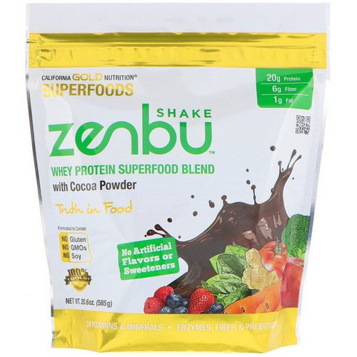 California Gold Nutrition, Zenbu Shake, Whey Protein Superfood Blend with Cocoa Powder, 1.3 lbs (585 g) Review