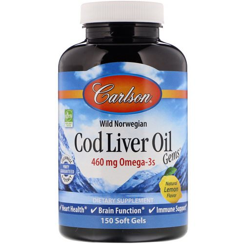 Carlson Labs, Cod Liver Oil Gems, Natural Lemon, 460 mg, 150 Soft Gels Review