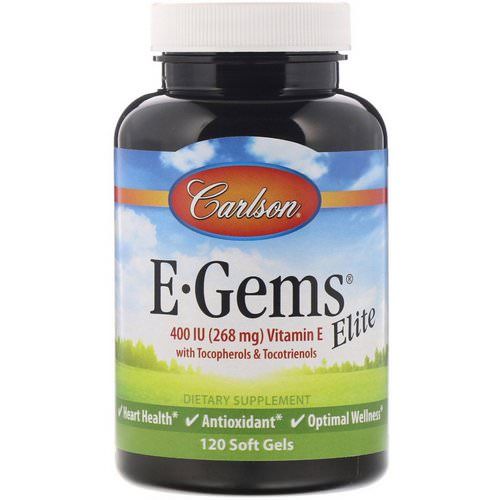Carlson Labs, E-Gems Elite, Vitamin E, 400 IU (268 mg), 120 Soft Gels Review