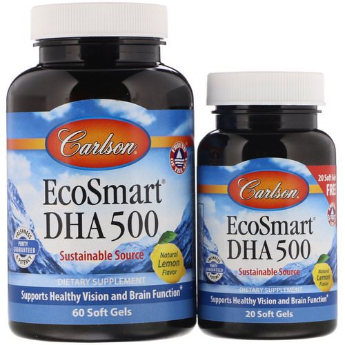 Carlson Labs, EcoSmart DHA, Natural Lemon Flavor, 60 Soft Gels + Free 20 Soft Gels Review