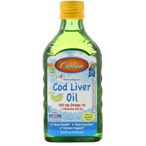 Carlson Labs, Kid's, Norwegian Cod Liver Oil, Natural Lemon Flavor, 8.4 fl oz (250 ml) Review