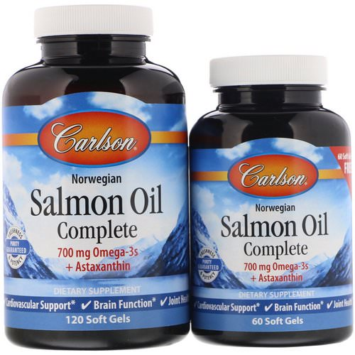 Carlson Labs, Norwegian Salmon Oil Complete, 120 + 60 Free Soft Gels Review
