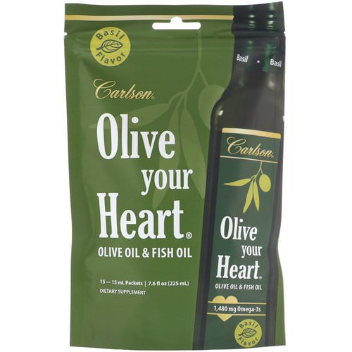 Carlson Labs, Olive Your Heart, Olive Oil & Fish Oil, Basil Flavor, 1,480 mg, 15 Packets, 15 ml Each Review