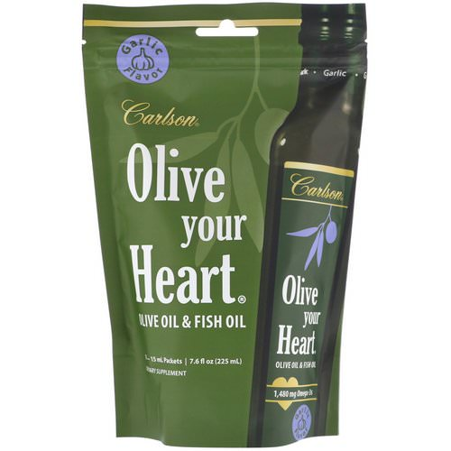 Carlson Labs, Olive Your Heart, Olive Oil & Fish Oil, Garlic Flavor, 1,480 mg, 15 Packets, 15 ml Each Review