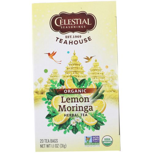 Celestial Seasonings, Teahouse, Organic Herbal Tea, Lemon Moringa, 20 Tea Bags, 1.1 oz (31 g) Review