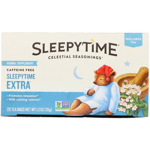 Celestial Seasonings, Wellness Tea, Sleepytime Extra, Caffeine Free, 20 Tea Bags, 1.2 oz (35 g) Review