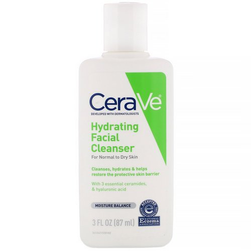 CeraVe, Hydrating Facial Cleanser, For Normal to Dry Skin, 3 fl oz (87 ml) Review