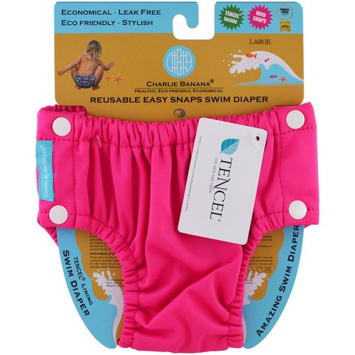 Charlie Banana, Reusable Easy Snaps Swim Diaper, Hot Pink, Large, 1 Diaper Review