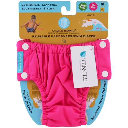 Charlie Banana, Reusable Easy Snaps Swim Diaper, Hot Pink, Medium, 1 Diaper Review