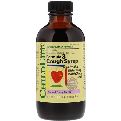 ChildLife, Essentials, Formula 3 Cough Syrup, Alcohol Free, Natural Berry Flavor, 4 fl oz (118.5 ml) Review