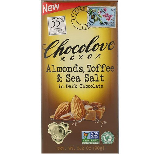Chocolove, Almonds, Toffee & Sea Salt in Dark Chocolate, 3.2 oz (90 g) Review