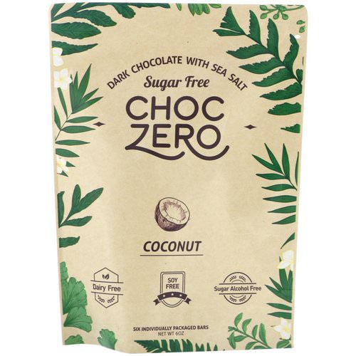 ChocZero Inc, Dark Chocolate With Sea Salt Keto Bark, Coconut, Sugar Free, 6 Bars, 1 oz Each Review