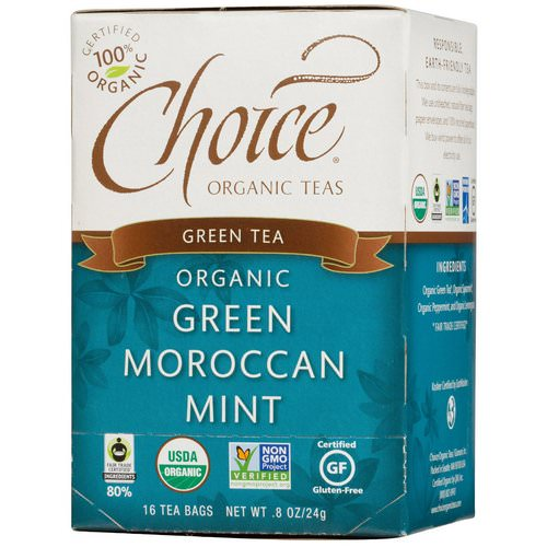 Choice Organic Teas, Green Tea, Organic, Green Moroccan Mint, 16 Tea Bags, .8 oz (24 g) Review