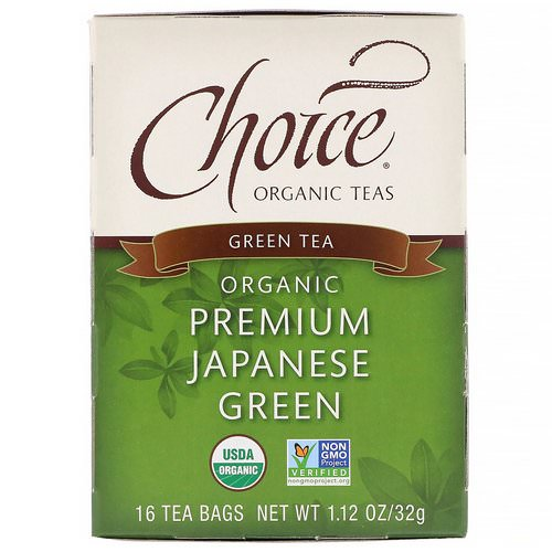 Choice Organic Teas, Organic, Green Tea, Premium Japanese Green, 16 Tea Bags, 1.12 oz (32 g) Review