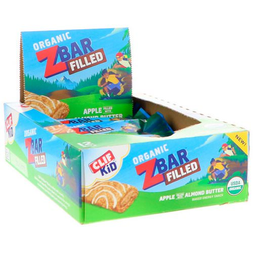 Clif Bar, Clif Kid, Organic ZBar Filled, Apple Filled with Almond Butter, 12 Bars, 1.06 oz (30 g) Each Review