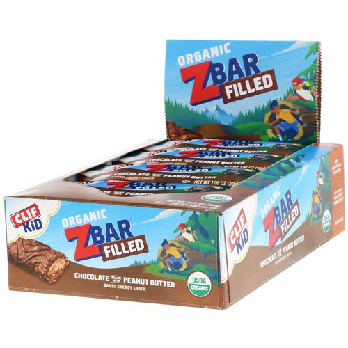 Clif Bar, Clif Kid, Organic Zbar Filled, Chocolate Filled with Peanut Butter, 12 Bars, 1.06 oz (30 g) Each Review