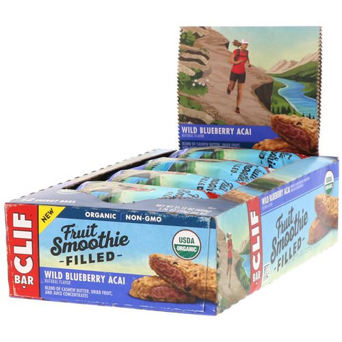 Clif Bar, Energy Bar, Fruit Smoothie Filled, Wild Blueberry Acai, 12 Bars, 1.76 oz (50 g) Each Review