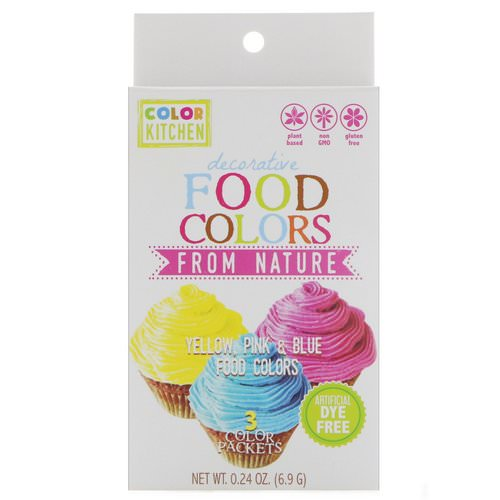 ColorKitchen, Decorative, Food Colors From Nature, 3 Color Packets, 0.24 oz (6.9 g) Review