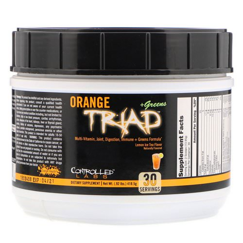 Controlled Labs, Orange Triad + Greens, Lemon Ice Tea Flavor, 0.92 lbs (418.5 g) Review