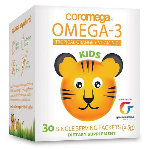 Coromega, Kids, Omega-3, Tropical Orange + Vitamin D, 30 Single Serving Packets (2.5 g) Review