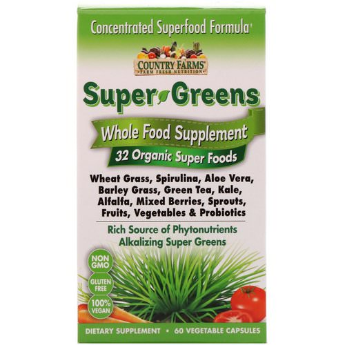 Country Farms, Super Greens, Whole Food Supplement, 60 Vegetable Capsules Review