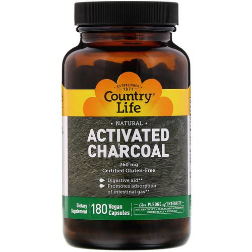 Country Life, Activated Charcoal, 260 mg, 180 Vegan Capsules Review