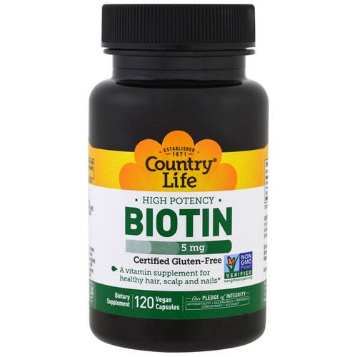 Country Life, Biotin, High Potency, 5 mg, 120 Vegan Caps Review