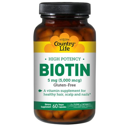 Country Life, Biotin, High Potency, 5 mg, 60 Vegan Caps Review