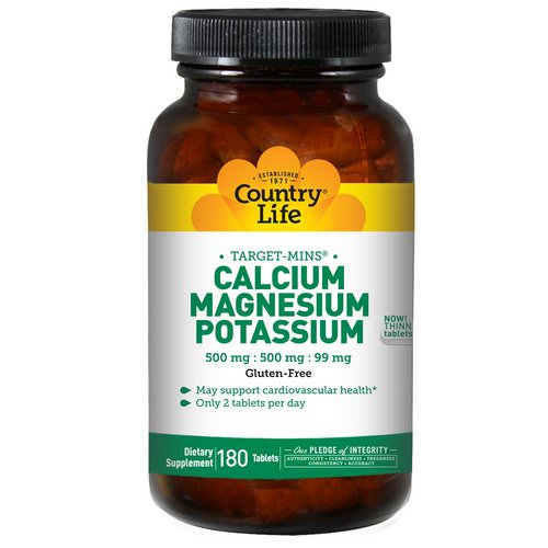 Country Life, Calcium, Magnesium, and Potassium, 500 mg : 500 mg : 99 mg, 180 Tablets Review