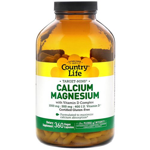 Country Life, Calcium Magnesium, with Vitamin D Complex, Gluten Free, 360 Vegan Capsules Review